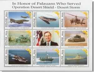 Palau stamps commemorate the First Undeclared Gulf War and President Bush, I.