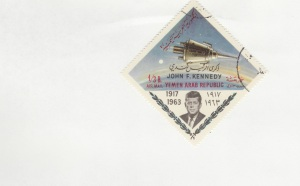 JFK image with space craft.  Yemen Arab Republic stamp .