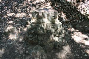 Monument to RLS on site of miner's cabin in RLS State Park.
