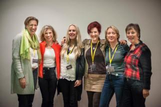 Today's female explorers (l to r) Felicity Aston, Rosie Stancer, Jacki Hill-Murphy, Lois Pryce, Ann Daniels and Arita Baaijens at the Women's Adventure Expo 2015.