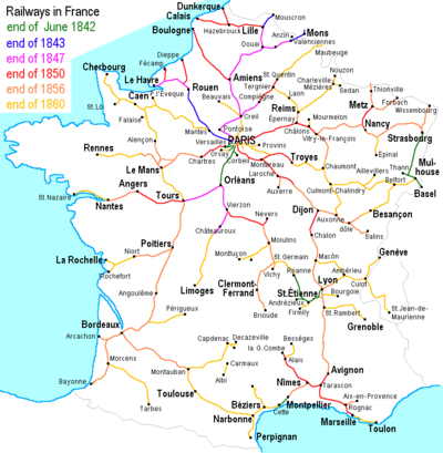French rail network in the 19th c.